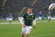 Allumette Italie de rugby contre l'Afrique du Sud - le Bryan Habana Photo libre de droits