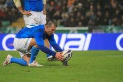 Allumette Italie de rugby contre l'Afrique du Sud - le Craig Gower Photo libre de droits