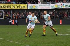 Allumette USAP de rugby du principal 14 contre Bourgoin Images stock