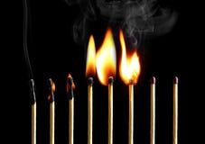 Allumettes brûlantes Images libres de droits