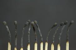 Allumettes brûlées Images libres de droits