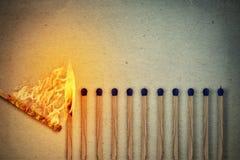 Allumettes brûlantes Photos libres de droits