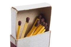Allumettes dans une boîte d'allumettes Photo stock