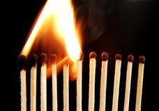 Allumettes en incendie Photographie stock