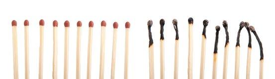 Allumettes et allumettes brûlées Images libres de droits