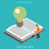 Allumez le vecteur 3d plat d'idée d'éducation lumineuse d'affaires isométrique illustration de vecteur