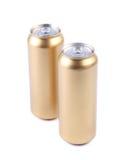 Alluminio degli spazii in bianco e latte di soda dorate Fotografia Stock Libera da Diritti