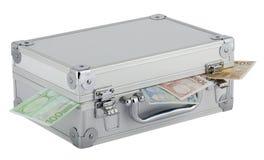 Alluminio della valigia con euro soldi Fotografia Stock