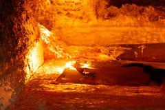 Alluminio fuso in una fornace Fotografie Stock Libere da Diritti