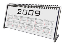 Alluminium and Chrome Desktop calendar 2009. On white clipping path Royalty Free Stock Images