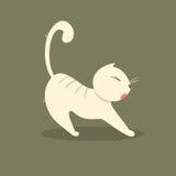 Allungamenti grassi divertenti del gatto Illustrazione di vettore Illustrazione Vettoriale
