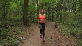 Allungamento attivo della donna di sport e muscoli di allungamento nel parco prima di correre archivi video