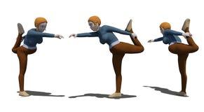 Allungamento caucasico di yoga della donna su fondo bianco fotografia stock libera da diritti