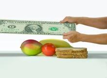 Allungamento del dollaro per coprire i costi dell'alimento che lottano per sopravvivere a Fotografie Stock