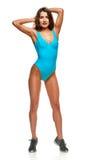 Allungamento della donna del nuotatore Fotografia Stock Libera da Diritti