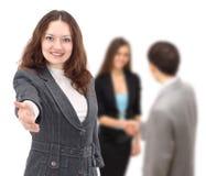 Allungamento della donna di affari Immagini Stock Libere da Diritti