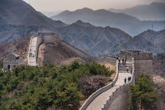Allungamento della grande muraglia della Cina e delle colline, Pechino Fotografia Stock Libera da Diritti