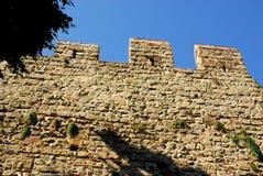 Allungamento delle pareti antiche con l'albero nella città di Monselice nella provincia di Padova nel Veneto (Italia) Fotografie Stock Libere da Diritti