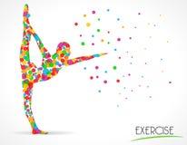 Allungamento delle pose di esercizio, di forma fisica, di yoga e di ballo, grafico piano di stile del cerchio di colore Fotografia Stock