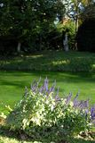 Allungamento di Cepuglio del fiume con i fiori blu che confinano il prato inglese che è situato di fronte al castello di Strassol Immagine Stock