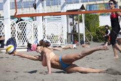 Allungamento di salto della donna orizzontalmente Pallavolo Immagine Stock