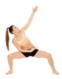 Allungamento di signora di forma fisica Fotografie Stock Libere da Diritti