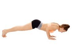Allungamento di signora di forma fisica Fotografia Stock Libera da Diritti
