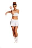 Allungamento femminile abbastanza giovane del tennis Immagine Stock