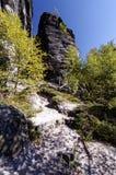 Allungamento pendente che passa con le varie formazioni rocciose Immagine Stock Libera da Diritti