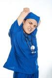 Allungamento stanco di medico Fotografie Stock