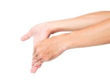 Allungando esercita il fondo bianco dello ione del dito, la sanità co Immagini Stock Libere da Diritti