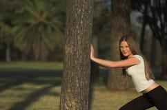 Allungando sull'albero Fotografie Stock Libere da Diritti