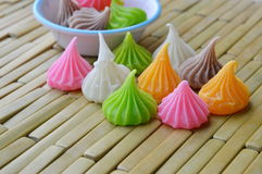 Allure candy colorful thai dessert on bamboo plate Royalty Free Stock Images