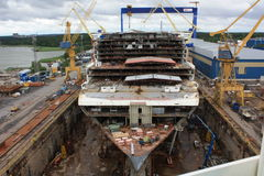Allure of the Seas construction. Ship yard STX in Turku, Finland where Allure of the Seas was constructed Stock Image