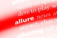 Allure. Word in a dictionary.  concept Stock Photo