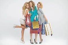 3 alluring женщины держа хозяйственные сумки Стоковое Изображение