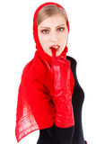 Alluring beautiful girl in red scarf Stock Photo