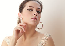 Alluring beautiful makeup woman looking. Soft light Royalty Free Stock Image