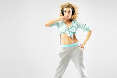 Alluring blond woman with headphones Royalty Free Stock Images