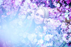 Alluring blonde woman in blooming flowers Royalty Free Stock Photos