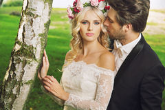 Alluring bride with her husband Stock Photography