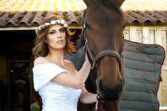Alluring Bride and Horse Stock Photo