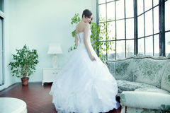 Alluring brunette bride waiting for wedding Stock Photos
