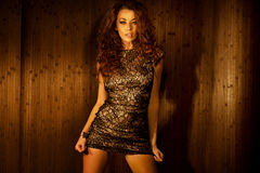Alluring brunette woman wearing sensual clothes Royalty Free Stock Images