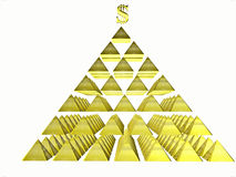 Alluring deceptive isolated pyramids topped by a. Golden dollar. Symbols Stock Images