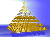 Alluring deceptive pyramid topped by a golden Royalty Free Stock Photography