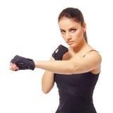 Alluring female athlete posing at camera Stock Photos