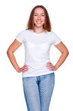 Alluring female in white t-shirt Stock Photography