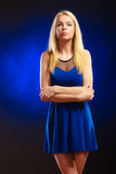Alluring girl long blond hair evening dress Stock Photo
