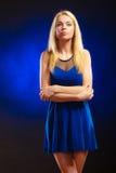 Alluring girl long blond hair evening dress Stock Photo